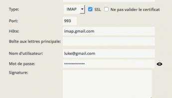 Compte mail Google Gmail intégré